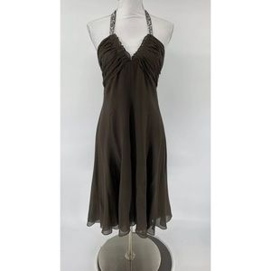 BCBG Maxazra Dress Brown Crepe Halter Sequins
